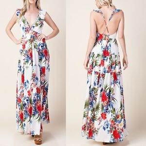 KAYLEE Floral Maxi Dress - WHITE
